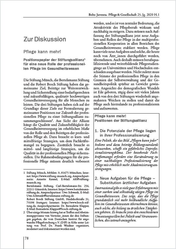 """Cover des Positionspapiers """"Pflege kann mehr"""""""
