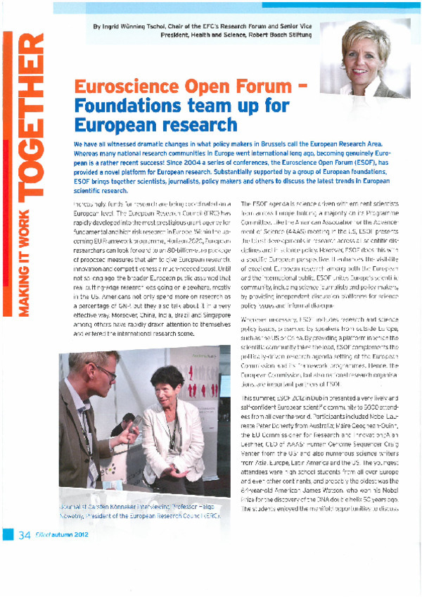Bosch Publication Euroscience Open Forum - Foundations team up for European research