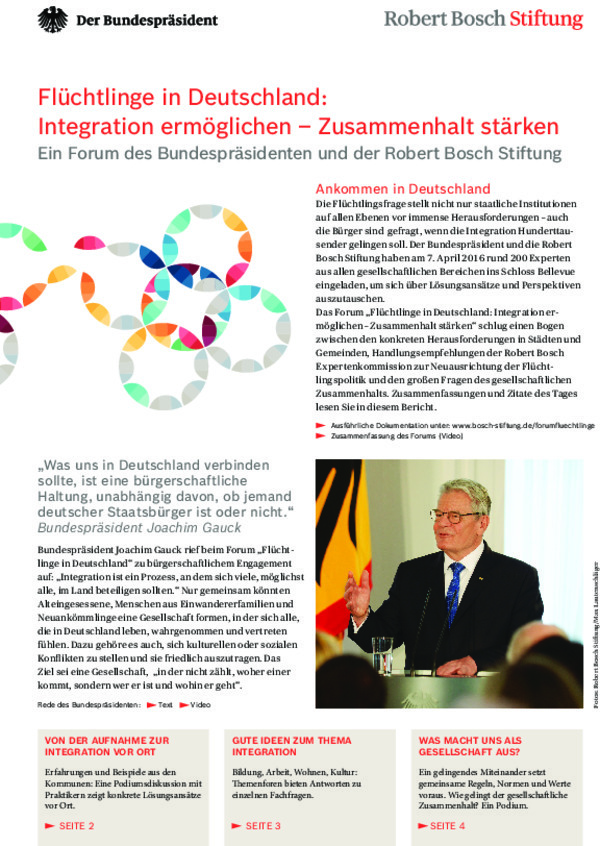 "Bosch Publication Report on the Forum ""Refugees in Germany"""